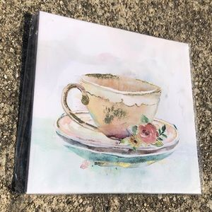 "Wrapped Canvas Art Gold Foiled Tea Cup 8""x8"" NWT"
